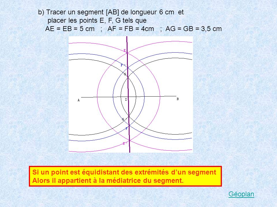 b) Tracer un segment [AB] de longueur 6 cm et